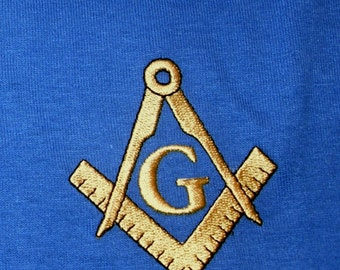 Masonic Logo Polo Shirt Freemason Brotherhood Fraternal Order with Gold Embroidered Compass and Square