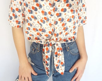 Vintage 1980s White Polka Dot Printed Silk Short Sleeve Button-up / Size (M/L)
