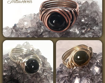 Wire wrapped Nest ring; personal power gemstone ring; Copper; Silver; Brass; Custom Sizing; Black Onyx or Alternative gemstones available
