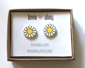 Daisy Earrings cute Earrings flower Earrings hippie stud earrings pretty jewelry gift for her christmas gift holiday gift