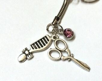 Hair Stylist Themed Keychain with three charms, hair dresser custom gem color available
