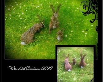 Rabbit family wire sculpture.