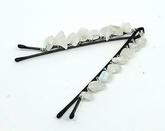 Cute Decorative Hair Pins with Wire Wrapped Rainbow Moonstone Chips