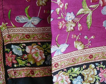 vintage floral silk sari magenta by the yard yardage high quality great condition