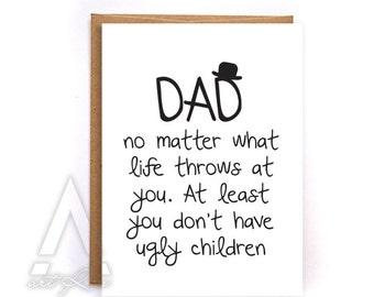 Fathers day card from kids, fathers day card funny, greeting cards, birthday cards, fathers day card from daughter, card from son GC4