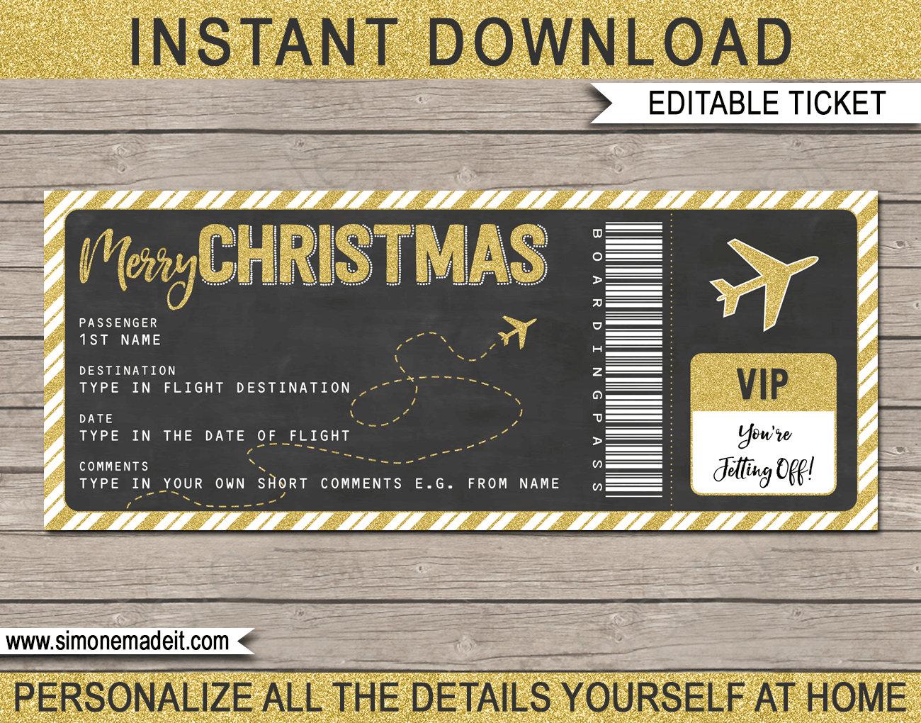 Christmas Plane Ticket Gift Printable Boarding Pass
