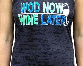 SoRock Women's Wod Now Wine Later Black Burnout Tank