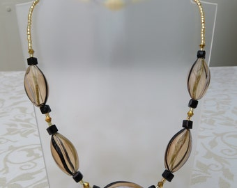 Pale amber clear glass/crystal necklace