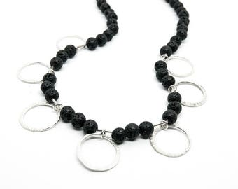 Black lava bead and silver circle necklace, hand forged silver, artisan necklace, monochrome, silver circle necklace