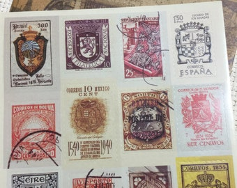 Vintage Stamps Around The World Stickers #1, Embellishment, Scrapbooks, Junk Journals, Collages, Arts and Crafts