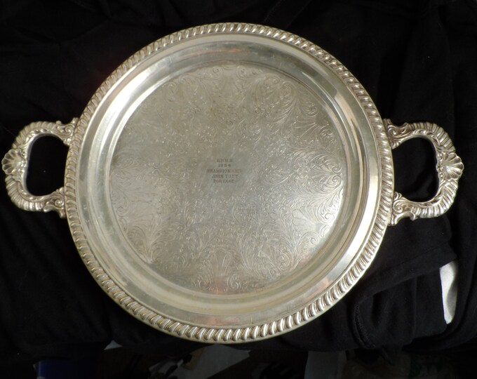 Silver Tray-Sheridan Silver Plate Two Handle Serving Tray-B.F.H.S 1954 Championship John Tutt Portage-Tutt Estate