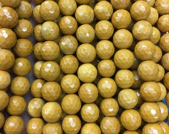 8mm Natural Yellow Jasper Faceted Beads, Jasper Stone Beads, Jasper Beads Round Gemstone Beads For Jewelry Making 15''