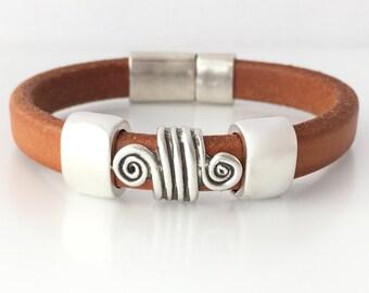 Tan Leather Cuff Bracelet -Leather Bracelet Women - Mens Cuff Bracelet - Leather Wristband - Mens Leather Jewelry - Women Gift Ideas - Cuff