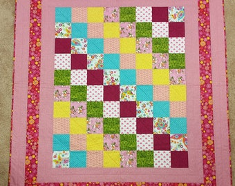 Baby Shower Gift Cute Pinks and Reds Baby Quilt