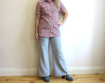 Vintage 1970s Pale Blue Plaid Pants Wide Leg Trousers Flare Pants High Waist Flares White Yellow Orange Checkered Hippie Boho Medium Size
