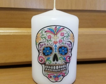 Day of the Dead Sugar Skull 2x3 Pillar Candle