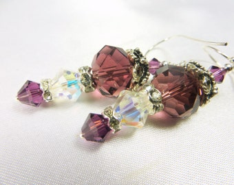 Plum Crystal and Crystal AB Earrings on Sterling Silver wires