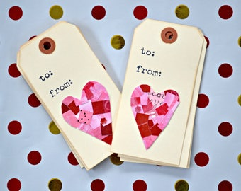 Set of six Heart Gift Tags. Anniversary, Valentine's Day, Birthday Tags for gifts.