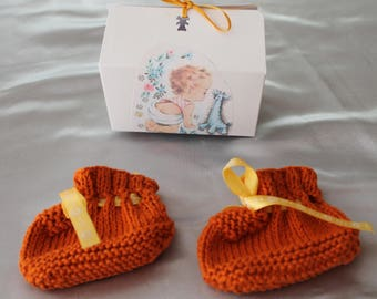 knitting, shoe, Brown, gift, baby knitted handmade