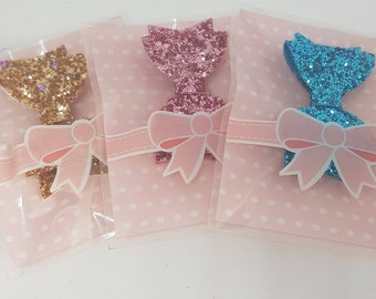 Bow party bag filler, party favour, girly party bag, hair bow bundle, glitter hair bow, bow clip, girls birthday party, girls party bag