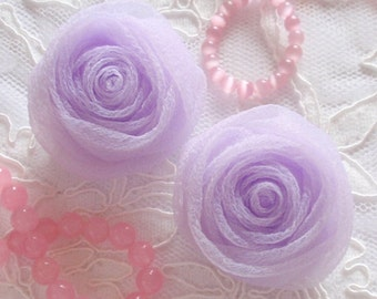 2 Organza Rolled Roses Chiffon Roses Organza Roses Chiffon Flowers In Lavender MY-352-02 Ready To Ship