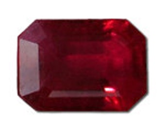 2 Carats Madagascar Emerald Cut Natural Ruby in AAA Grade Raspberry Red 8x6mm