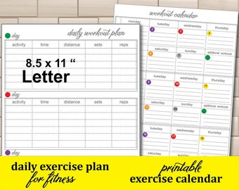 Workout Journal, Daily Exercise Tracker, 21 day exercise calendar,Workout log Easy to Use Fitness Planner -instant download