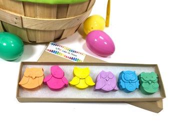 Owl Crayons - creative toddler Easter basket gift - Easter gift for girls - allergy free Easter gift for kids - unique crayon gift for kids