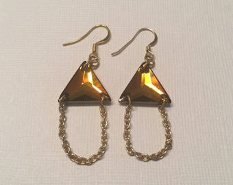 Swarovski Crystal Gold Color Chain Dangle Earrings FREE SHIPPING