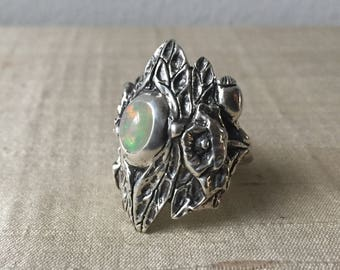 Opal and Sterling Silver- The Dragonfly Poppy Ring