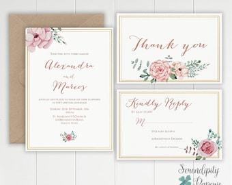 blush and gold floral wedding invitation set printable. pink flowers wedding invitation