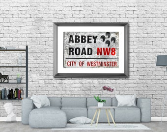 Abbey Road Sign, Beatles, London UK, Photography, Picture