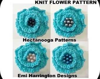 knitting pattern, Knit Flower, Knitting accessories and supplies, 3 sizes: small, medium and large flowers, Easy knit flower, #2182K