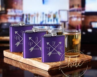bridesmaid flasks.  Personalized Flask,  bridal shower gift,  Bridal party gifts, bachelorette party favors,