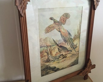 Vintage Carved Wooden Framed Pheasant Print
