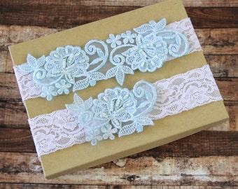 Light Blue Pearl Beaded Lace with Ivory Stretch Lace Wedding Garter Set ,Toss Garter , Keepsake Garter, Something Blue