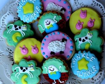 Nursery Rhyme Sugar Cookies - nursery rhyme baby shower - baby shower favors - baby shower gift - decorated cookie - sugar cookie favors