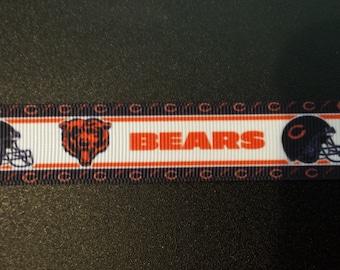 """7/8"""" Chicago Bears Inspired Grosgrain Ribbon"""