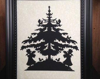 "PAPER CUT Angels Under Christmas Tree, ORIGINAL Handmade Paper Cutting Scherenschnitte fits 8x10"" frame"