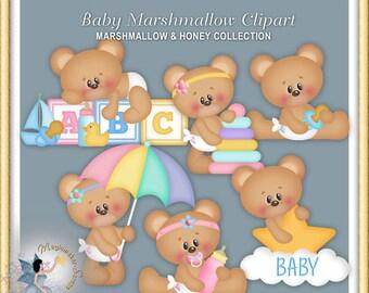 Teddy Bear Clipart, Baby Marshmallow and Honey 2015