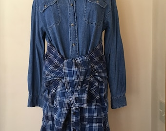 """Upcycled Vintage  Denim & Flannel Multi-Look """"Octopus"""" Shirt Dress (Tunic, Jacket, Duster)"""