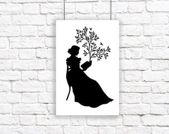Large Print Silhouette A Remarkable Book Black and White Reading Tree Birds