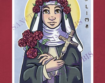 Saint Rose of Lima Catholic Art Print, Iconography, Saint Icon, Saint Art, Confirmation Gift, Religious Art