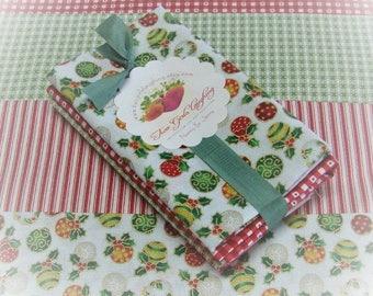 Fat Eights Bundle Christmas Fabric Benartex Penny Rose Season Greetings Fiber Arts Cotton Quilt Fabric Destash Ornaments Check Stripe 4 Cuts