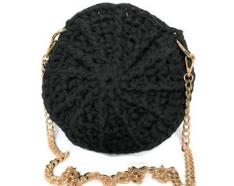 Round Crossbody Bag | 100% Handmade |Crochet Bags | Knit Bags | Black Purse | Purse with Gold Chain