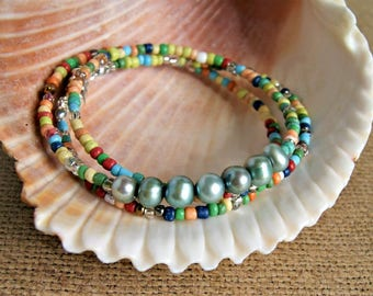 freshwater pearl bracelet, beaded bracelet, colorful jewelry, pearl necklace, boho jewelry, hippie bracelet, gift for her, under 20