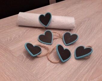 square, round napkin rings, set of 6 heart mark