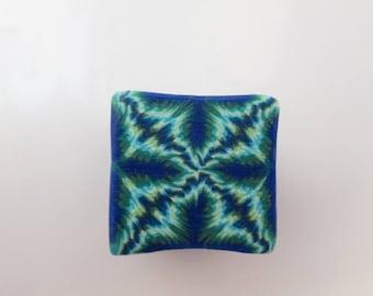 Polymer Clay Cane, Kaleidoscope Blue/Green, Raw