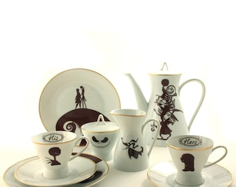 Nightmare Before Christmas, His Hers, Wedding Gift Set for 2, Sally Jack, Vintage Porcelain China, Oogie's Boys, Zero, Tim Burton, Mother