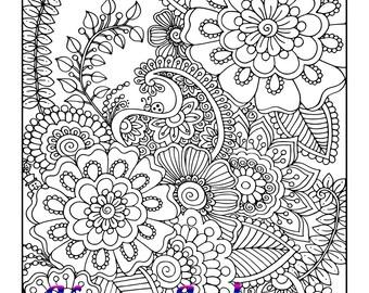Joyful, 1 Adult Coloring Book Page, Printable Instant Download, Karen Lukens